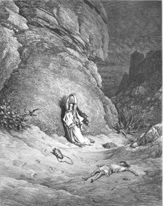 Hagar and Ishmael in the Wilderness. Image Gustave Doré. Public domain.