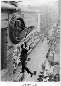 Safety last. Image: Harold Lloyd and Wesley Stout. Public domain.